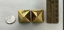 Large Gold Tone Pyramid TOM BINNS Statement 80s Style Earrings Clip On image 3