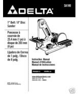"Delta 1"" Belt 8"" Disc Sander Manual Model # SA180 - $10.88"