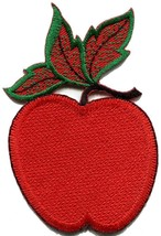 Red apple fruit embroidered applique iron-on patch S-1497 - $2.95