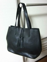 POLO RALPH LAUREN Authentic Unisex Cowhide Leather Tote Bag Black Used - $579.99
