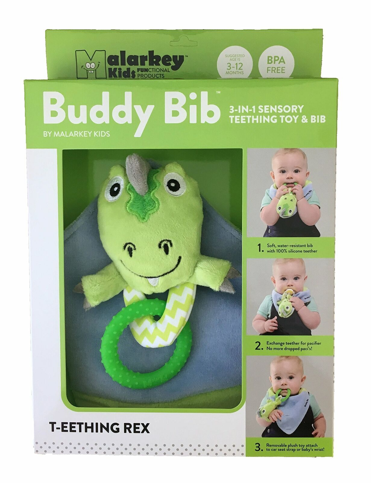 Munch Mitt the Original Mom Invented Teething Toy and 3 in 1 Buddy Bib- Self-... image 4