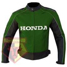 HONDA 5523 GREEN MOTORCYCLE MOTORBIKE ARMOURED COWHIDE LEATHER JACKET FO... - $194.99