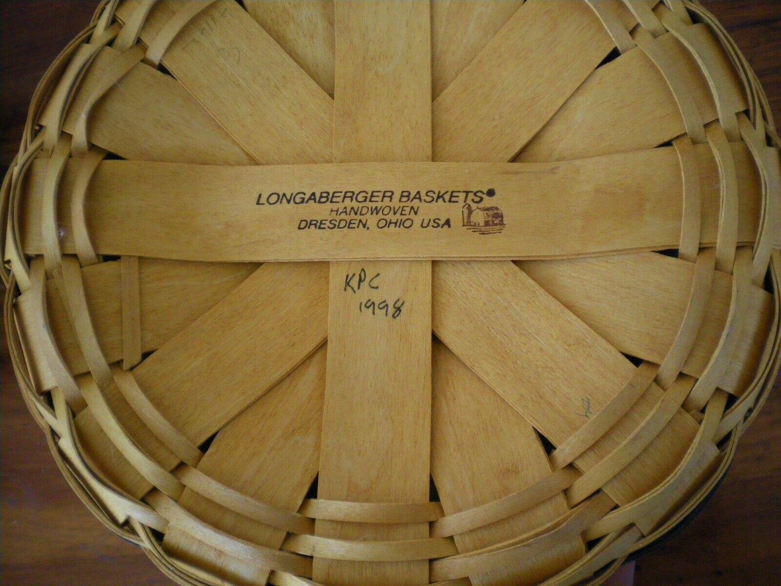 """VINTAGE LONGABERGER 10"""" DIAMETER ROUND BASKET WITH BAUER STONEWARE INSERT. 1998"""