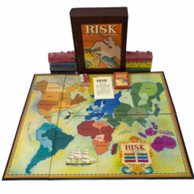 Parker Brothers RISK Vintage Game Wooden Library Book Shelf Wood Box Col... - $31.79