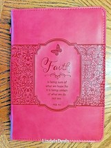 "Bible Cover Large 7"" x 10 1/8"" x 1 7/8"" Hebrews 11:1 Bible Cover Pink - $24.99"