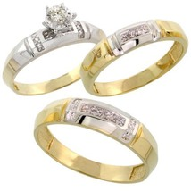 Diamond His & Hers 14k Yellow Gold Fn Silver Trio Engagement Wedding Ring Set - $149.26