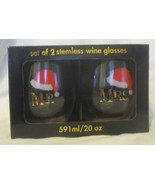 Set of 2 Stemless Wine Glasses Mr & Mrs Christmas 20 oz - $29.69