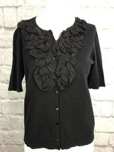 Chico's Size 1 Half Sleeve Button Front Ruffled Trim Cardigan Black - $12.99