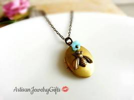 Brass Bee Locket Oval Brass Locket Bee Necklace Light Blue Baby Bell Flo... - $31.60+