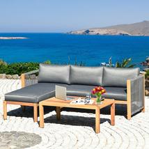 "3 Piece Patio Acacia Sofa Set with Nylon Armrest - Size: 52"" x 26"" x 25"" - £543.42 GBP"