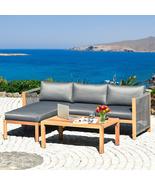 "3 Piece Patio Acacia Sofa Set with Nylon Armrest - Size: 52"" x 26"" x 25"" - £538.46 GBP"