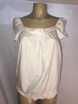Ladies Talbots White Cotton Baby Doll Beachy Short Sleeve Shirt Size M P... - $8.49