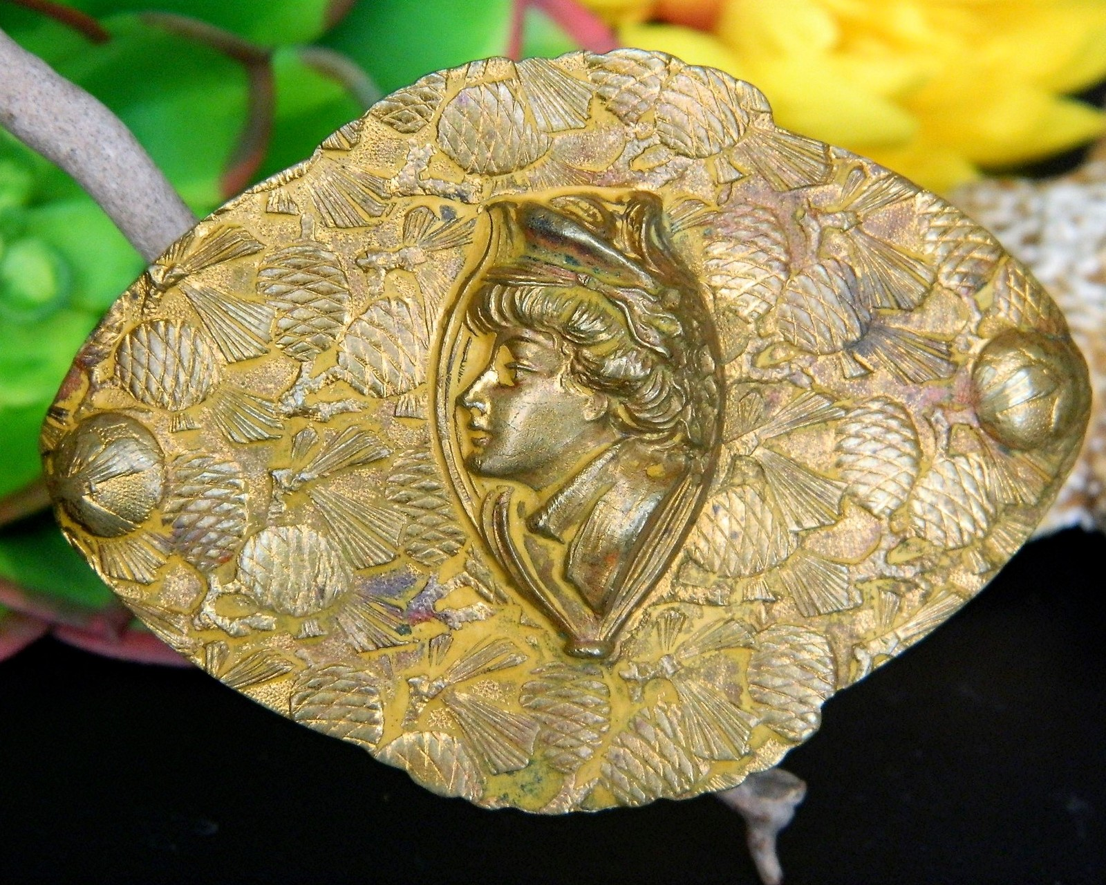 Primary image for Vintage Sash Brooch Pin Woman Military Hat Profile Brass Pine Cones