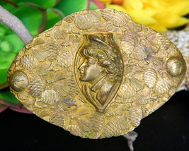 Vintage Sash Brooch Pin Woman Military Hat Profile Brass Pine Cones  - $94.95