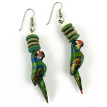 Vintage Wood Parrot Dangle Drop Earrings Pierced Exotic Tropical Bird To... - $14.77