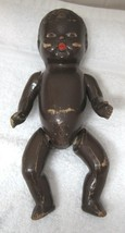 Vintage Composition Doll Baby Doll Molded Hair Brown Skin Tone  SHP - $39.59