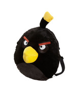 "ANGRY BIRDS BLACK BIRD PLUSH BACKPACK SOFT ROUND DOLL BACK PACK ROVIO 12"" - $14.99"