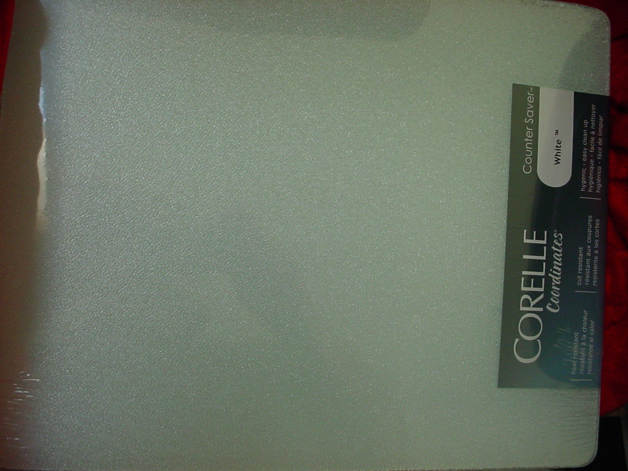 CORELLE WHITE COUNTER SAVER GLASS CUTTING BOARD 12 X 15 INCH NEW FREE USA SHIP - $28.04