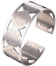 U7 Men Women Bangle Stainless Steel Cross St Benedict Medal Cuff Bracelet - $36.67