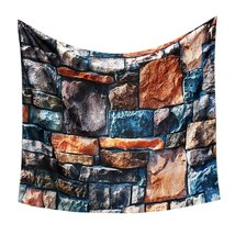 3D Stone Brick Decorative Tapestry Art Wall Hanging Living Room Decor Be... - $20.99+