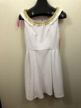 Betsey Johnson Women's White Short-Sleeve Fit & Flare Jeweled Dress 10 - $22.27