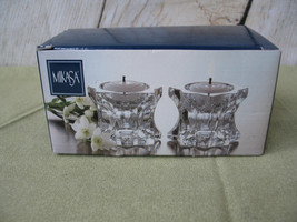 2 - MIKASA CLEAR CRYSTAL SPARKLING STAR TAPER & TEA LIGHT CANDLE HOLDER ... - $14.49