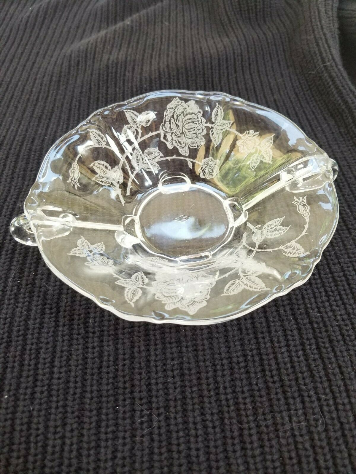 Primary image for Heisey Rose Etched Dolphin Footed 515 Nappy Bowl