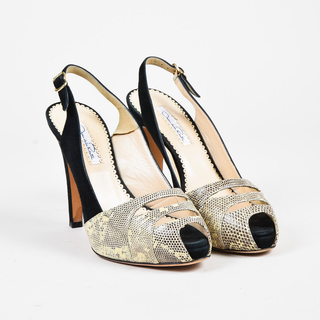 clearance footaction Oscar de la Renta Peep-Toe Slingback Sandals cheap price pre order free shipping shop offer outlet enjoy high quality buy online HbrC8Lo
