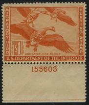 """RW11 - $1 VF-XF """"White Fronted Geese"""" Duck Stamp W/Pl# 155603 Mint NH - $89.09"""