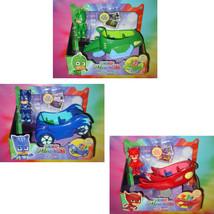 PJ MASKS ALL 3 VEHICLES Blue Catboy Cat-Car, Red Owl Glider, Green Gekko... - $59.99