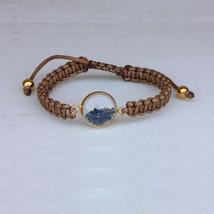 Sapphire Gemstone Shaker Bracelet 14k Yellow Gold Handmade Macrame Fine ... - $288.92