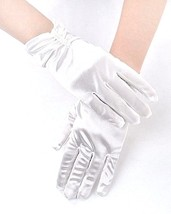 Women Double Bead Fingered Satin Short Gloves Banquet Party Wedding Prom... - $5.94
