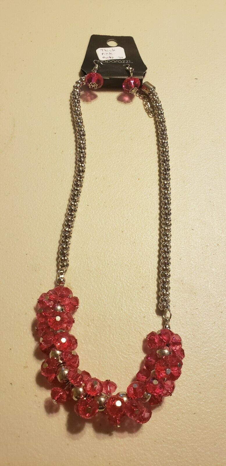 Primary image for Paparazzi Short Necklace & Earring set (new) #711 THICK PINK BEADS