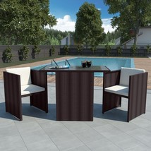 vidaXL Garden Dining Set 7 Pieces Poly Rattan Wicker Brown Outdoor Furni... - $191.99