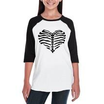 Skeleton Heart Kids Black And White BaseBall Shirt - $15.99