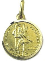 SOLID 18K YELLOW GOLD ROUND MEDAL, SAINT THOMAS OF AQUINAS, DIAMETER 17mm - $372.00