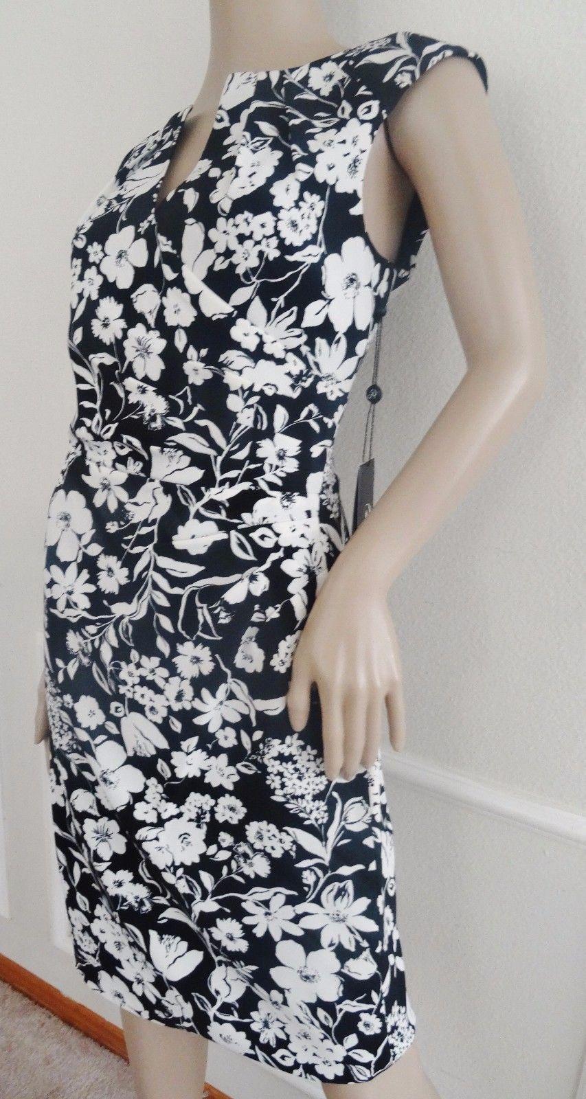Nwt Adrianna Papell Cap Sleeve Drape Work Sheath Dress Sz 4 Black White Floral