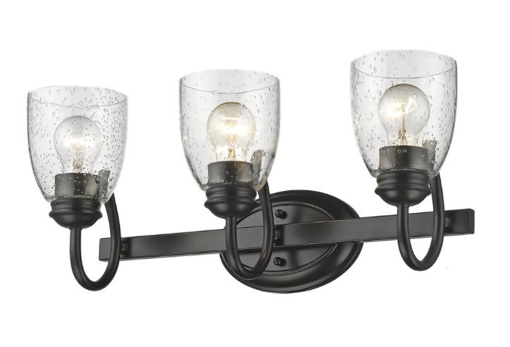 NEW Golden Lighting Parrish 3 Light Black Bath Vanity Light Seeded Glass  - $142.40