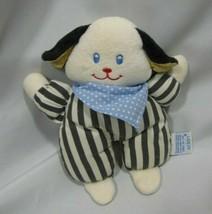 Eden Stuffed Plush Baby Puppy Dog Rattle Toy Black White Stripe Bandana Blue Dot - $39.59