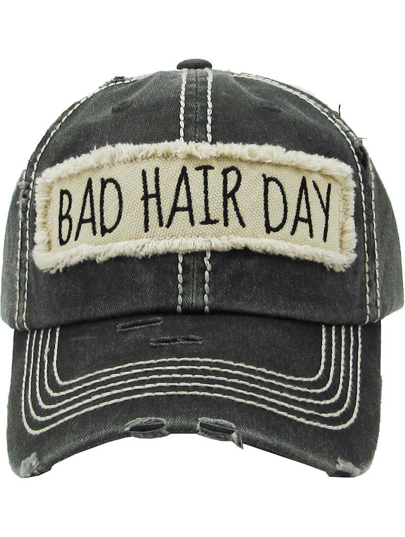 Distressed Vintage Style Bad Hair Day Hat Baseball Cap Runner Active Wear