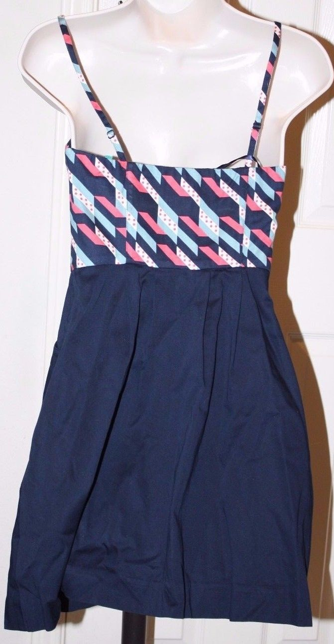Maeve Anthropologie Coral Navy Blue Spaghetti Strap Dress Sz 0 Ruched Front