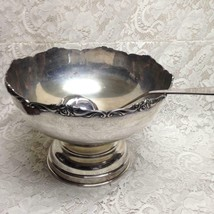 Vintage 4pc Silver Plated Punch-Soup-Pasta-Salad Bowl with 3 Ladles 9inH... - $113.95