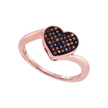 10kt Rose Gold Round Red Colored Diamond Heart Love Fashion Ring 1/10 Ctw - £137.64 GBP