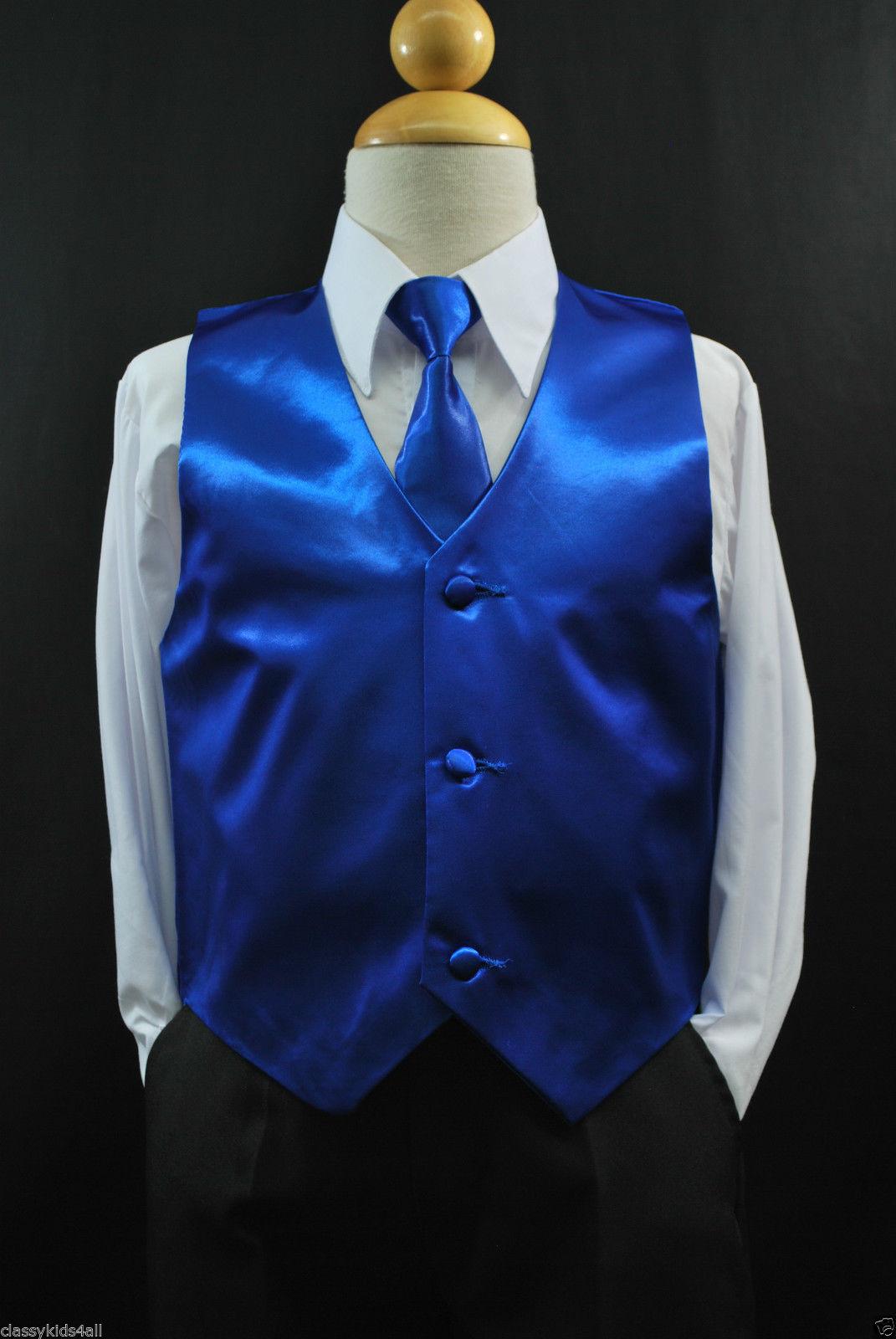 14 Toddler /& Kids GREEN LIME SATIN VEST /& TIE SET for Boy/'s Suit Tuxedo Sz 2T