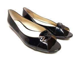 Womens Nine West Aloha Size 8.5 M Slip-On Flats Peep Toe Black Sandals S... - $27.10