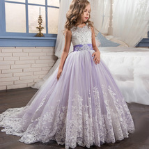 Vintage Lace Flowers Girls Dresses Lavender Tulle  Pricess Prom Party Go... - $78.00