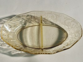 "Vintage Fostoria ""Versailles"" Etched Topaz Divided Relish Dish Bowl *Rare* - $35.64"