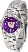 Washington Huskies Women Ladies Steel Sport AnoChrome Watch - $78.38