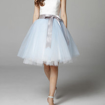 Midi Tulle Ruffle Skirt 6-Layered Ballerina Tulle Skirt Brown White image 13