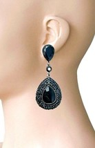 """2.75"""" Long Clip On Earrings Black Acrylic Crystals & Rhinestones, Pageant, Goth - $14.11"""